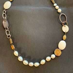 Silpada Necklace with Pearl & Brass Gorgeous